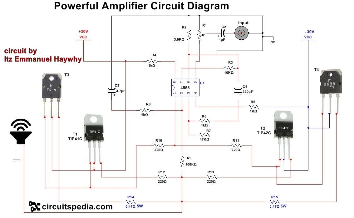 circuit diagram names how to make audio power amplifier circuit electronic projects  audio power amplifier circuit