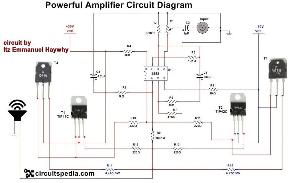 Powerful audio amplifier circuit with 4558.jpg