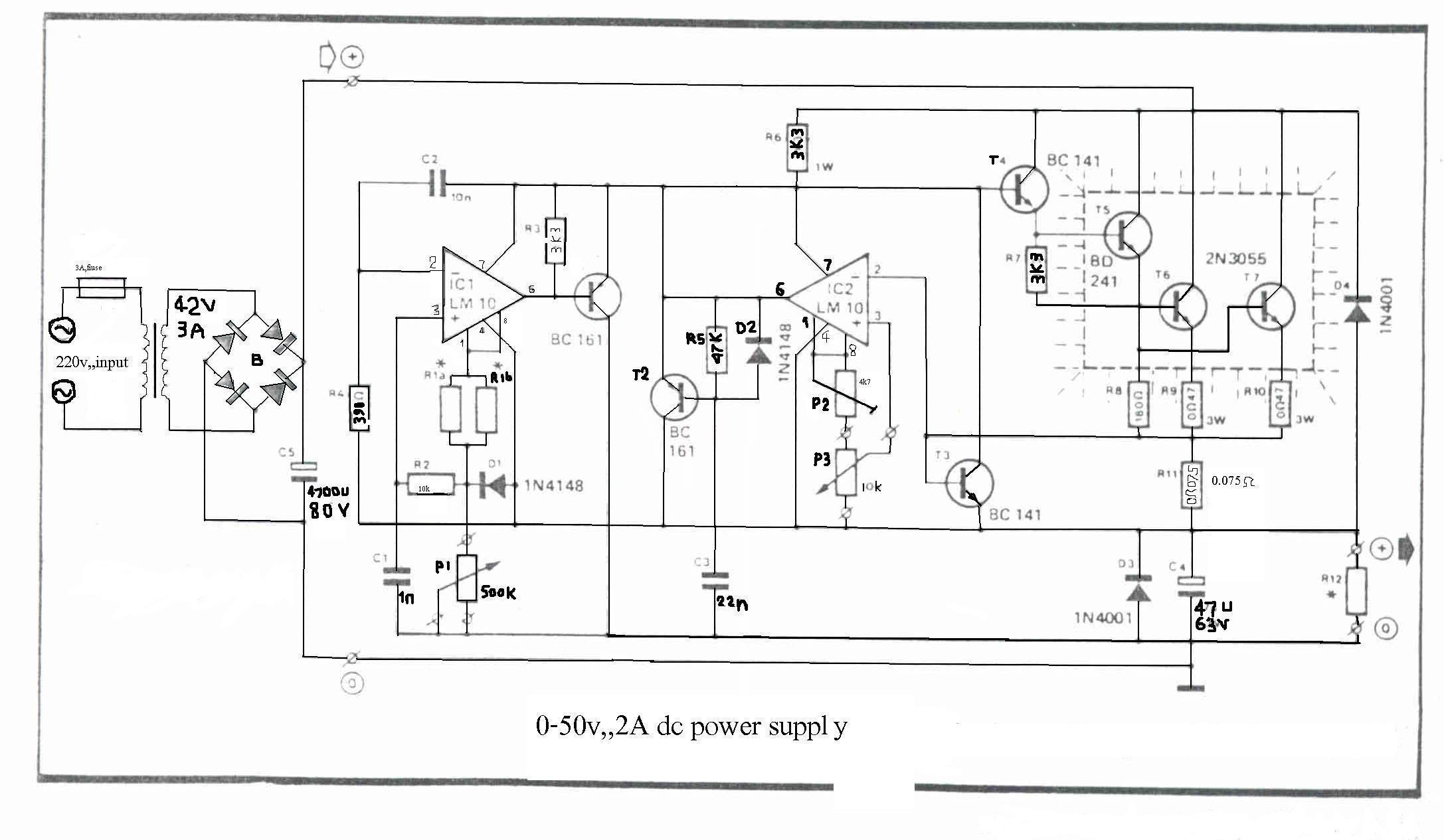 Lab Bench Power Supply Schematic Trusted Wiring Diagram Atx 0 50v 2a Electronics Hole Pattern