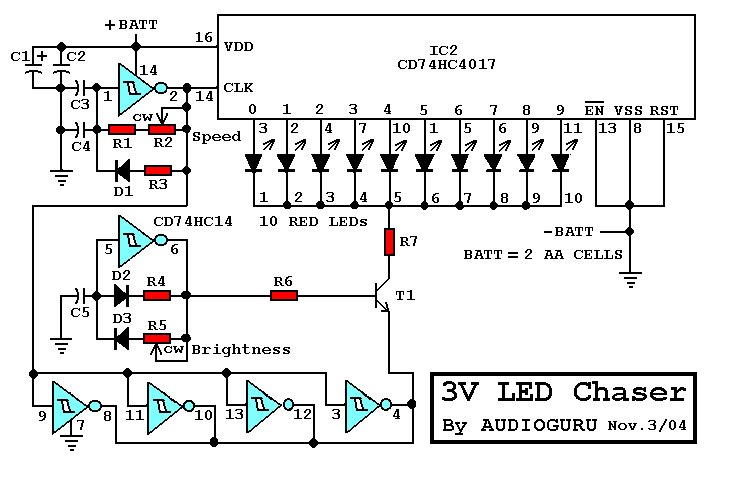 Running Lights moreover 3v Led Chaser besides Siren Generator Ic Um3561 besides 47 Projects To Do With A 555 besides Circuit Diagrams For Led Chaser Christmas Lights. on led chaser by ic 4017 555