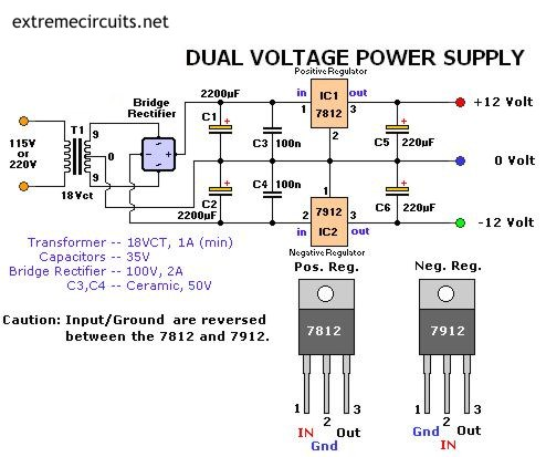 dual engine dual battery switch wiring diagram dual output transformer wiring diagram 13.8v/40a stabilized power supply - electronics-lab #4