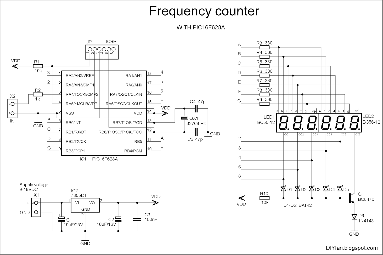 Frequency Counter With Pic16f628a Electronics Lab Circuit Diagram 7 Segment Display Engineering Project Schematic