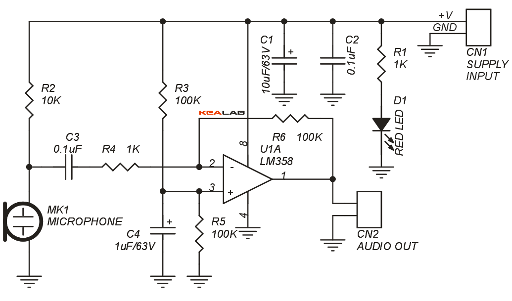 Low Noise Microphone Preamplifier Circuit on