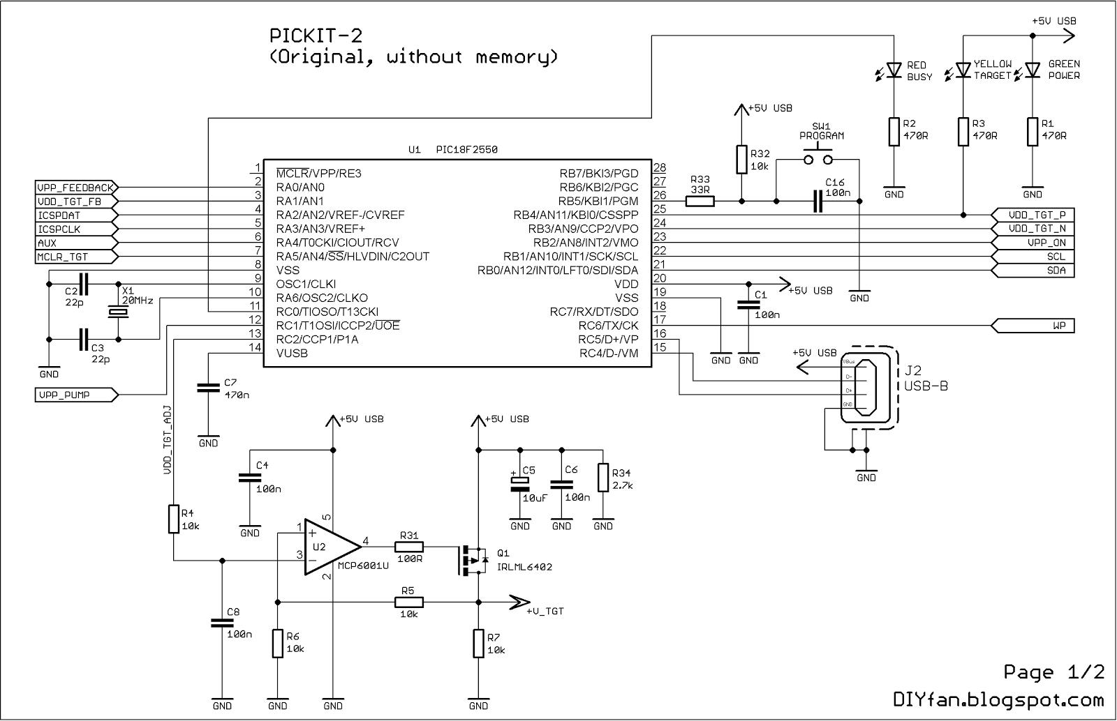 Original Pickit-2 Microcontroller Programmer