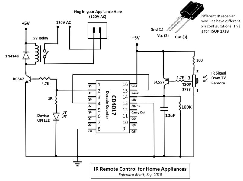 infrared toggle switch for home appliances electronics labCircuit By Using A Relay To Operate The Ac Mains Appliances By An Ir #5