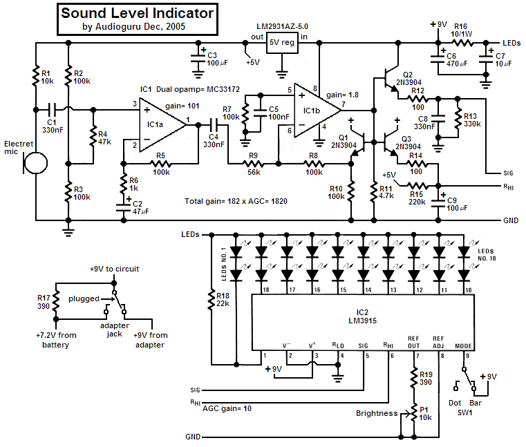 powered mixer wiring diagrams sound level indicator electronics lab  sound level indicator electronics lab