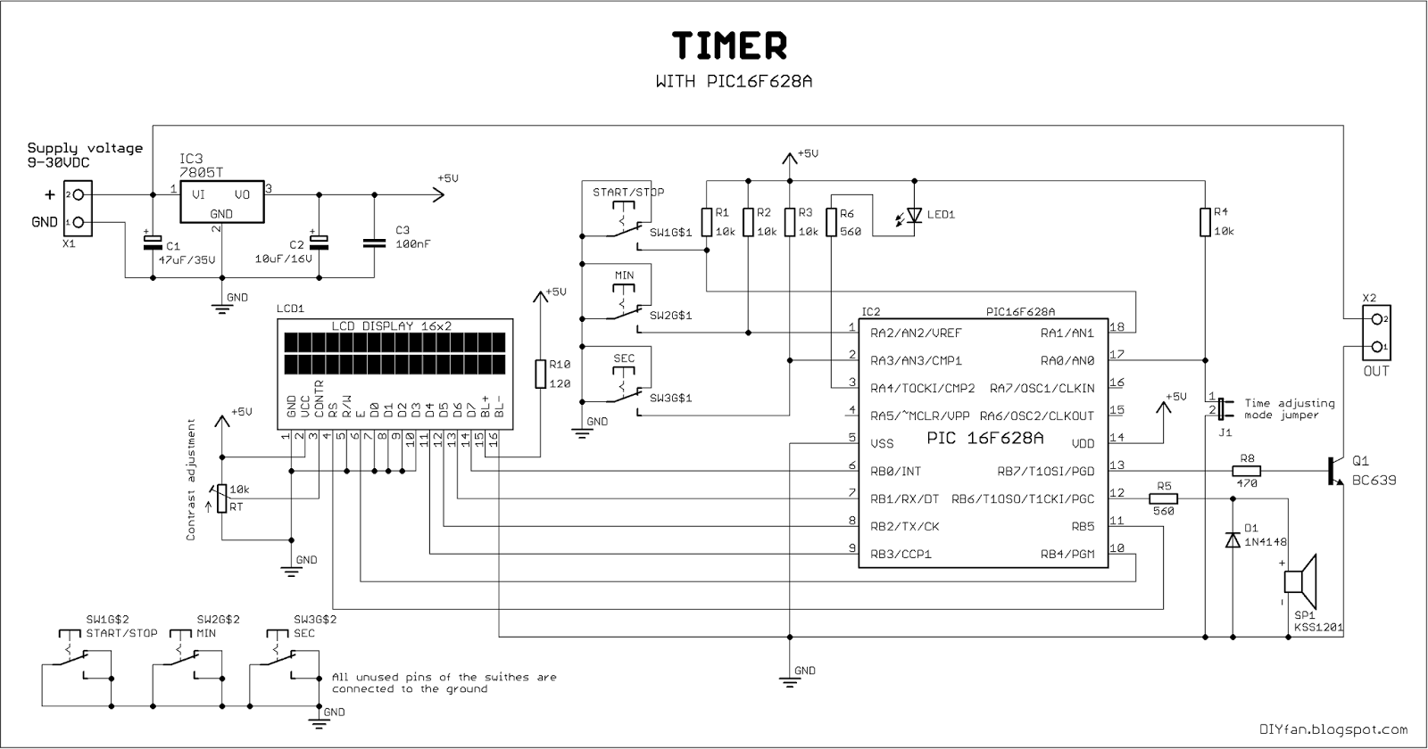 Simple Timer Diagram Schematic Diagrams Analog Frequency Meter Circuit Tradeoficcom With Pic16f628a Electronics Lab Wiring Dimmer Switch 2 Black 1 Red