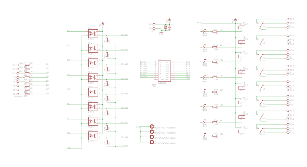 8 opto-isolated relay board