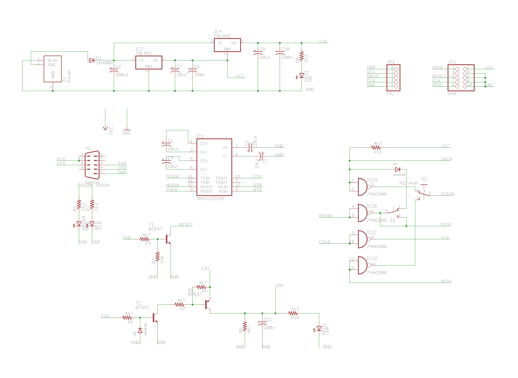 Serial Avr And Pic Programmer Electronics Lab Circuits Icsp In Circuit Programming Board Based On Pic16f84 Schematic