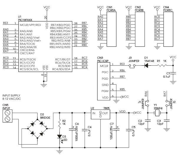 PIC_18F_28_PIN_PIC_Development_Board_Circuit