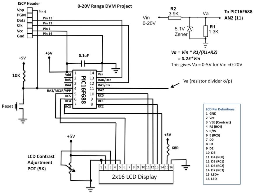 pic16f688 digital voltmeter