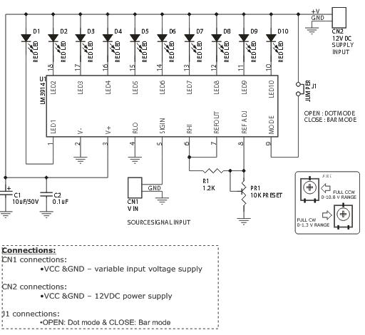 variable range led voltmeter electronics lab schematic variable range led voltmeter project circuit