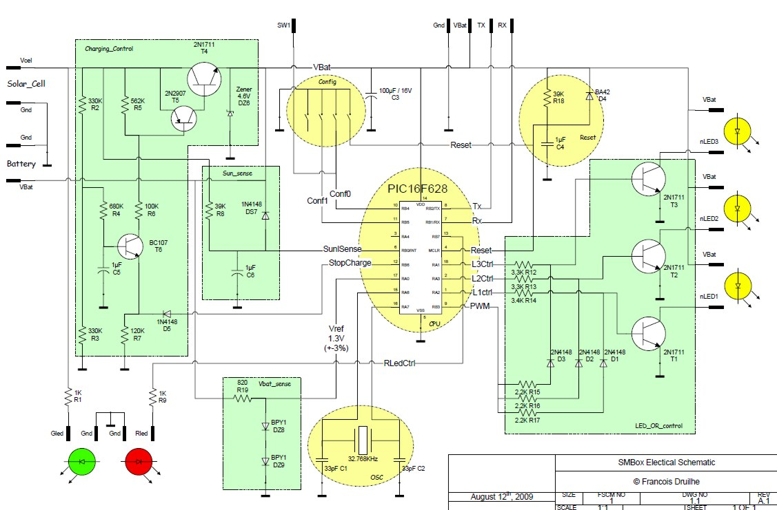 Solar Mailbox Project Electronics Lab Circuit Diagram Maker Electronicslab Charger Control The Cell Is Charging 3 Aa Nimh Trough Sziklai Pair Composed By T5 2n2907 And T4 1n1711