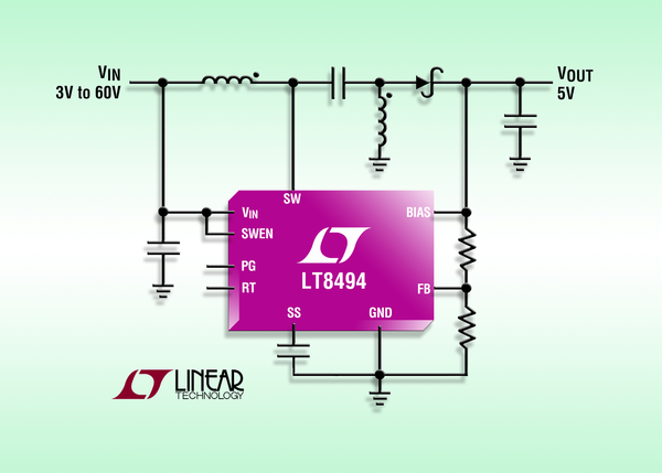 2A, 70V SEPIC/Boost DC/DC converter with 7µA Iq