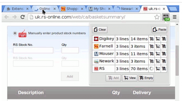 1clickBOM, a browser extension for quick shopping – Firefox version