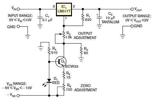 Use-an-LM317-as-0-to-3V-adjustable-regulator-fig-1