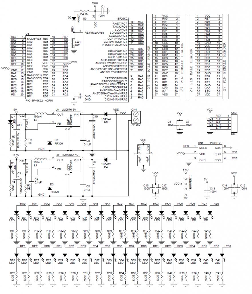 40  u0026 28 pin pic development board