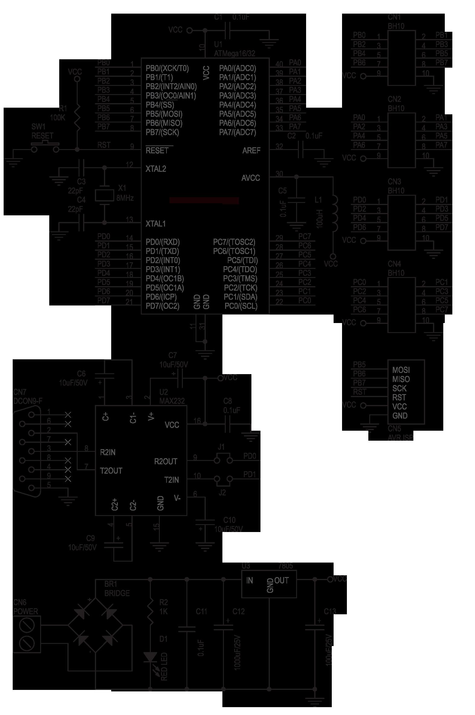 Atmega16 32 Development Board Electronics Lab Circuit Diagram Maker Electronicslab Schematic