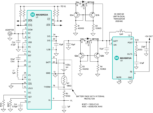 Get a constant +5V output by switching between a +5V input and a single-cell LI+ rechargeable cell