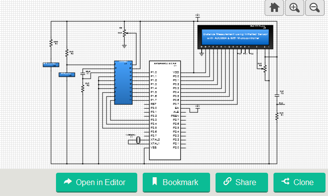 Distance Measurement using Infrared Sensor with ADC0804 & 8051 Microcontroller