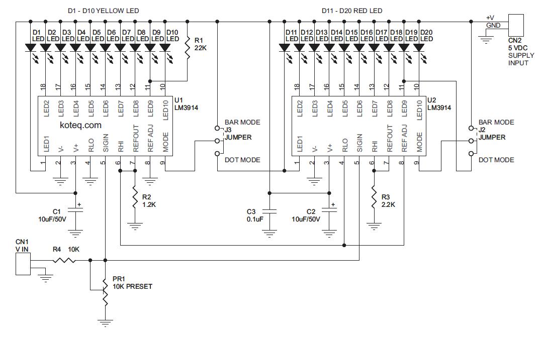 0 20v bargraph voltmeter electronics labLed Voltmeter Circuit #9