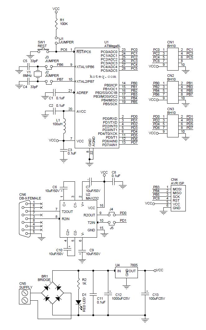 Atmega8 Development Board - Electronics-Lab.comElectronics-Lab