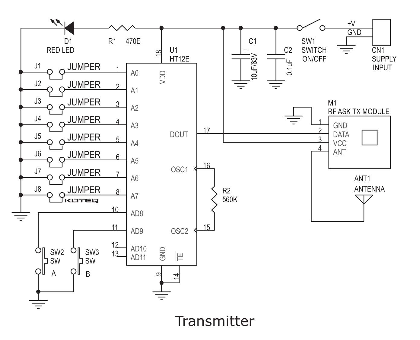 Rf Remote Dc Motor Direction Controller Electronics Lab Diagram Repalcement Parts And Schematic Driver Tx Sch