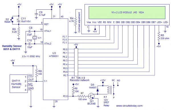 Humidity sensor using 8051