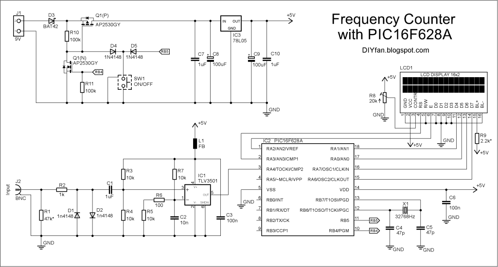 FreqCounter(16F628A,LCD,schematic)