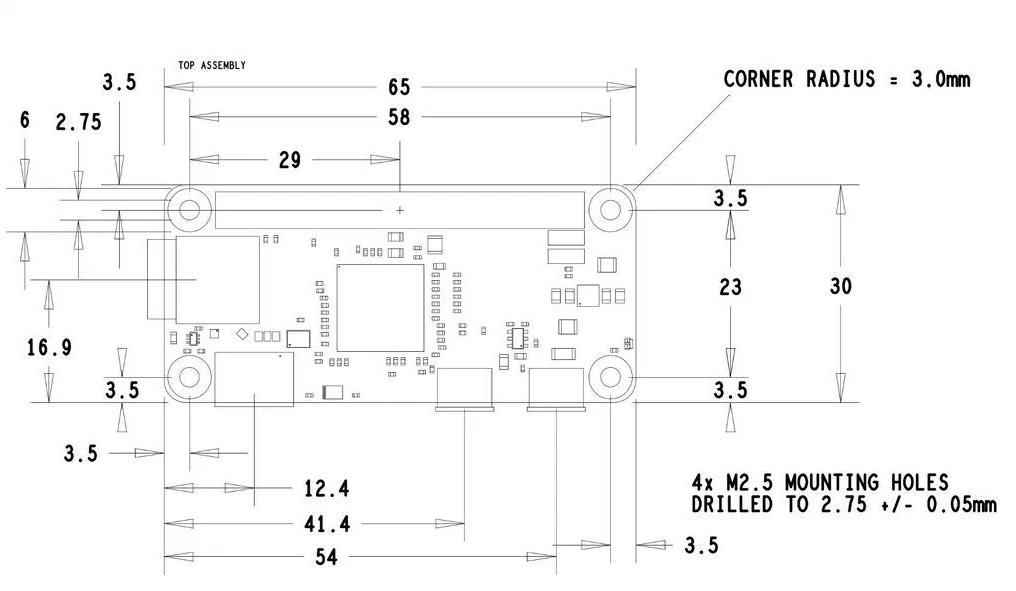 Raspberry Pi Zero Dimensions Footprint.jpg WEBP Image 1022×594 pixels