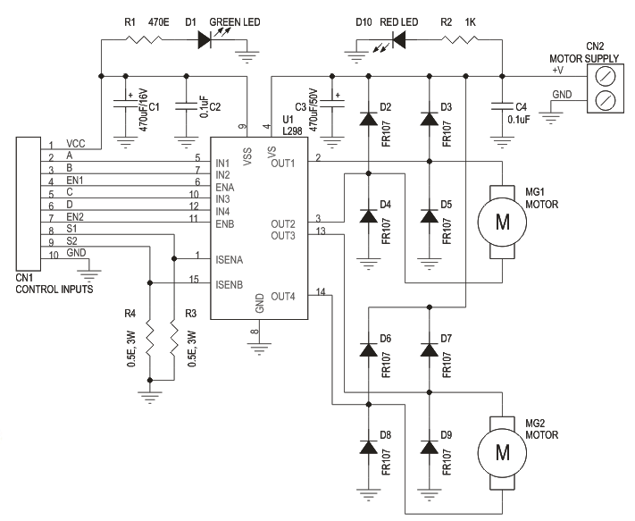 dual motor l298 h bridge motor control electronics lab L298 Motor Driver L298 H Bridge Circuit Diagram #3