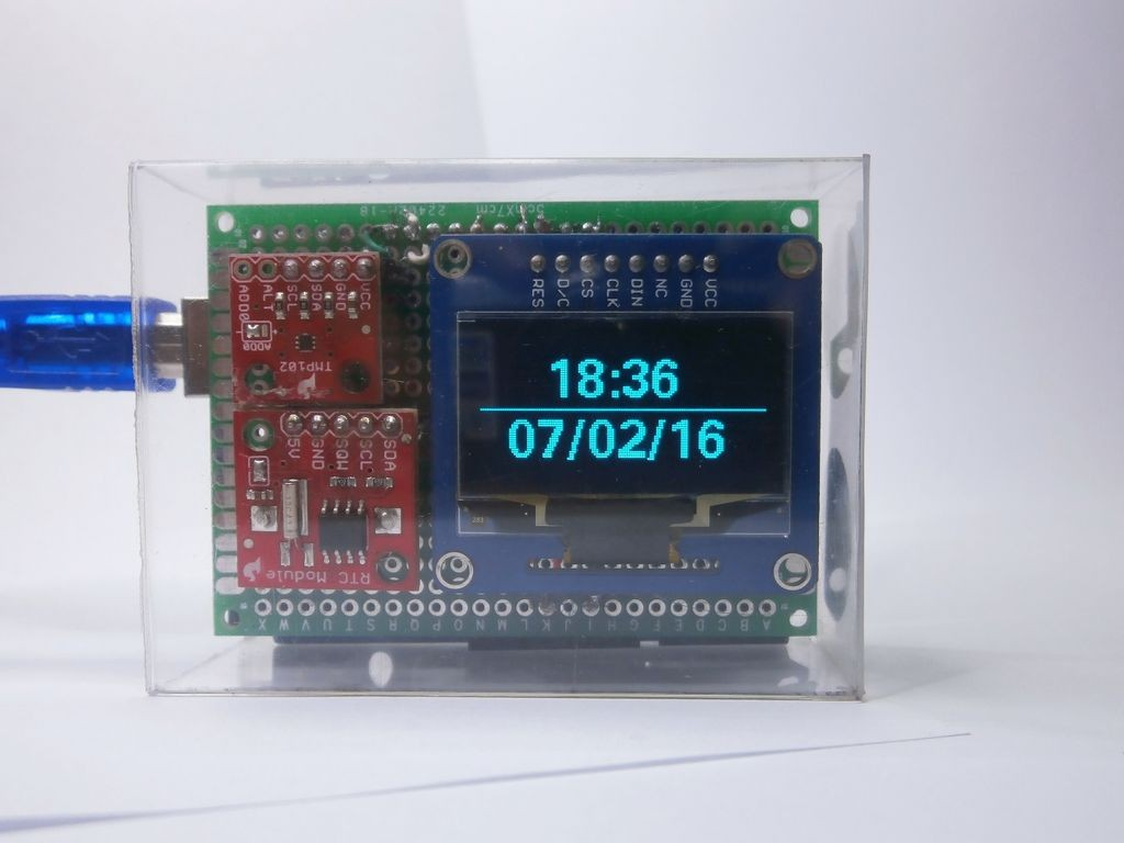 OpenSource Arduino OLED Clock with temperature measurement