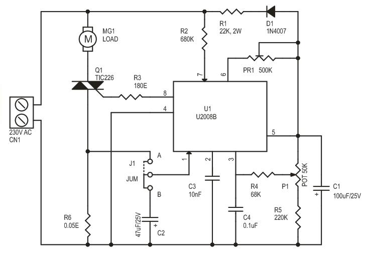 Ac motor speed controller using u2008b electronics lab for Ac motor speed control methods