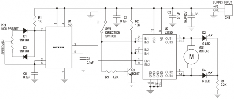 Dc Motor Speed And Direction Controller Using L293d