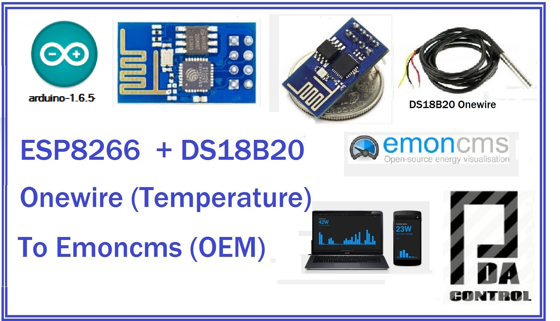ESP8266 + DS18B20 to Emoncms