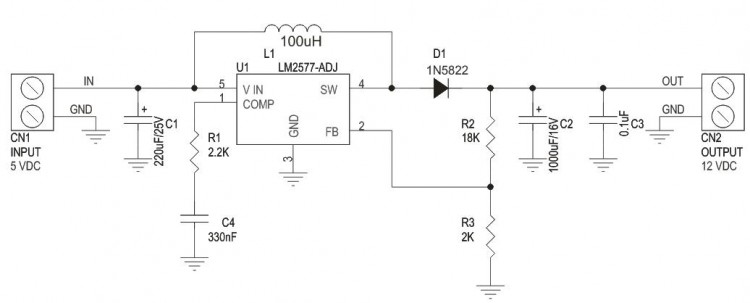 5V to 12V Step Up DC-DC Converter - Electronics-Lab