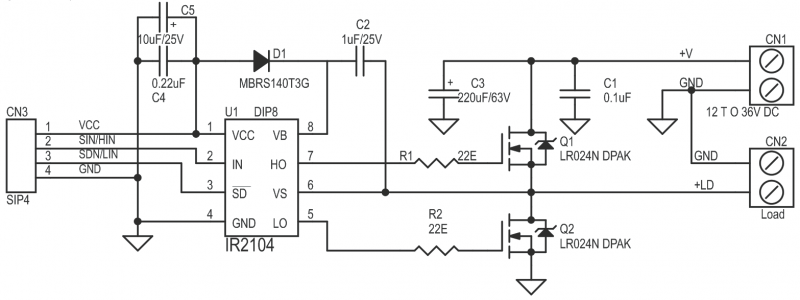 schematic circuit diagram with Half Bridge Driver Based On Ir2104 on Index php as well Triac L  Dimmer Snap On additionally Creating A Usb To Rs485 Converter With Ft232rl Chip moreover Change Direction Of 12v Dc Motor Rotation Using Relay in addition Htm.