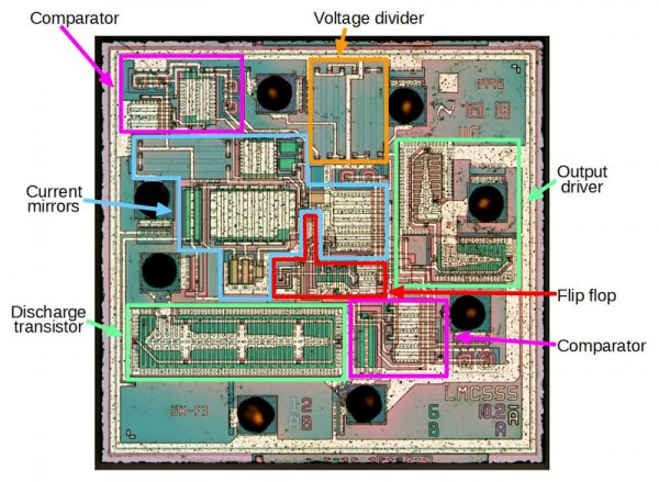 Reverse engineering the popular 555 timer chip