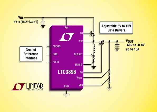 150V DC/DC inverting controller: single inductor, ground-referenced control