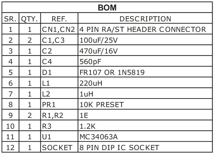 5V-STEP-DOWN-DC-TO-DC-CONVERTER-BOM