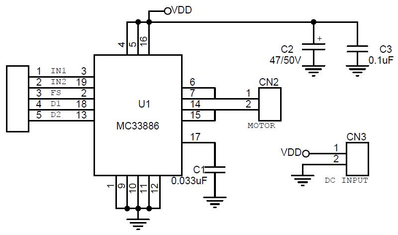 5 Amp H-Bridge DC Motor Driver using MC33886 - Electronics-Lab H Bridge Driver Circuit Schematic on