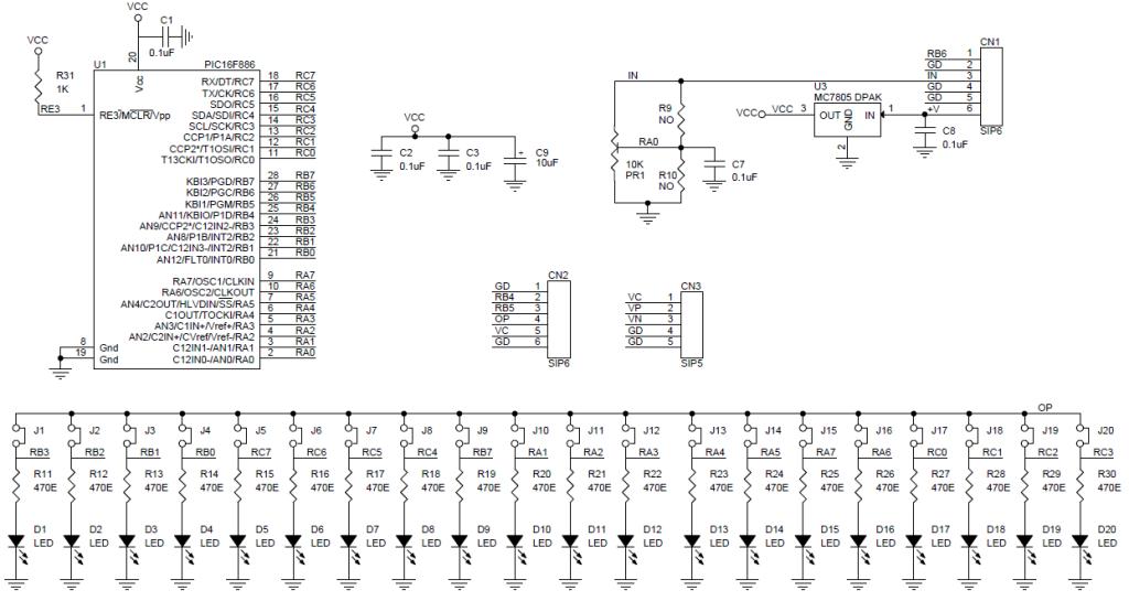 bargraph voltmeter 0 5v dc range pic16f686 electronics lab schematic bar graph volt meter range 0 5v dc