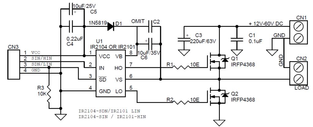 High Current Discrete Half-Bridge Based on IR2104 or IR2101