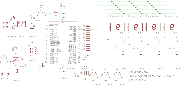 Count down timer for UV lamps using PIC16F887