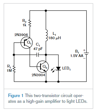 Simple two-transistor circuit lights LEDs