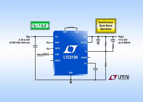 25V, 600 mA buck-boost DC/DC with 1.6 µA Iq
