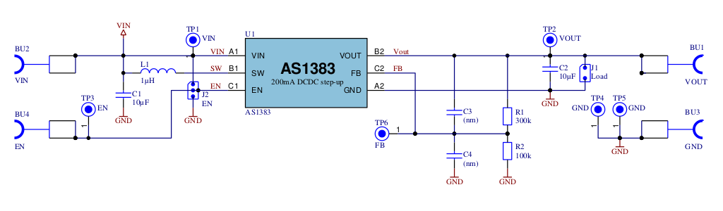 The Schematic of The Evaluation Kit for AS1383
