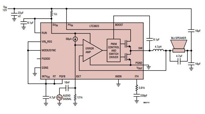 LTC3623 – Switching regulator doubles as Class-D audio amplifier