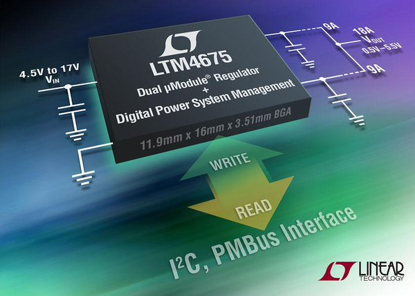 LTC Design Note: Dual 9A, step-down μModule regulator with digital power system management