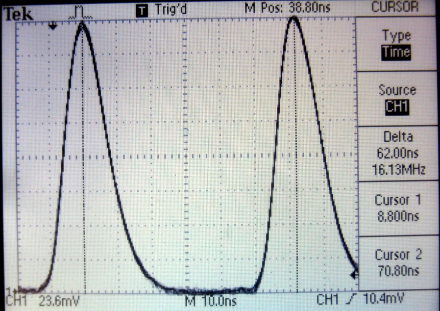 Time difference between the arrival of the two pulses can be seen on the oscilloscope